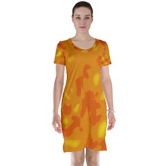 Orange Decor Short Sleeve Nightdress