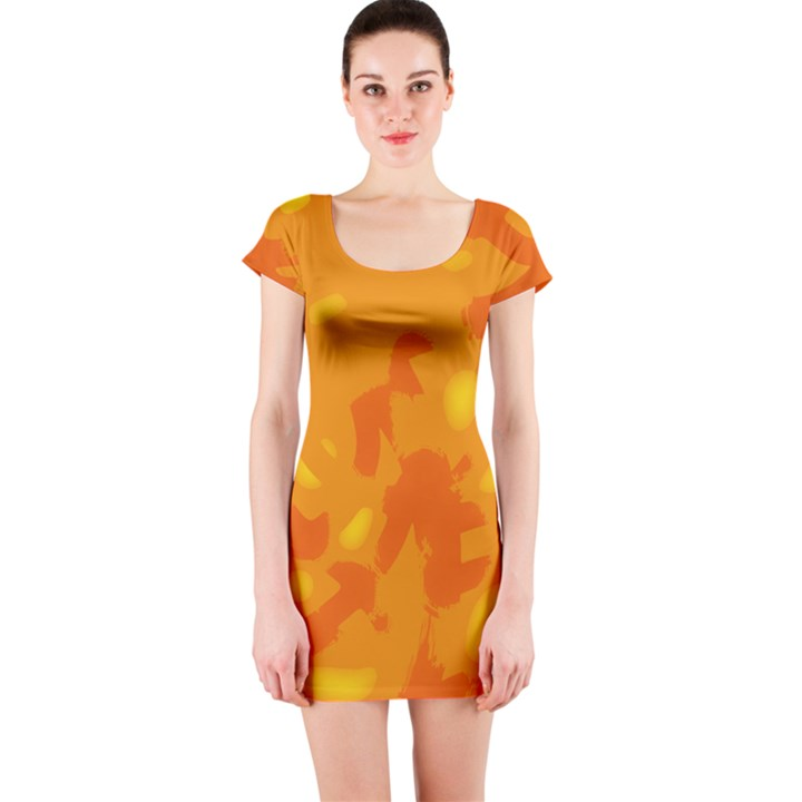 Orange decor Short Sleeve Bodycon Dress