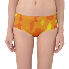 Orange Decor Mid Waist Bikini Bottoms