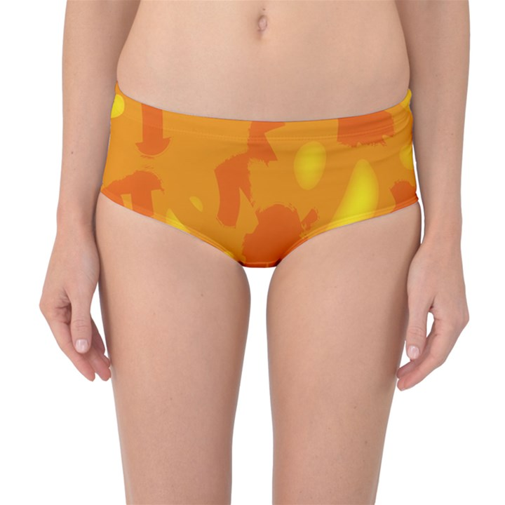 Orange decor Mid-Waist Bikini Bottoms