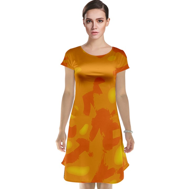 Orange decor Cap Sleeve Nightdress