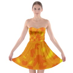 Orange Decor Strapless Bra Top Dress