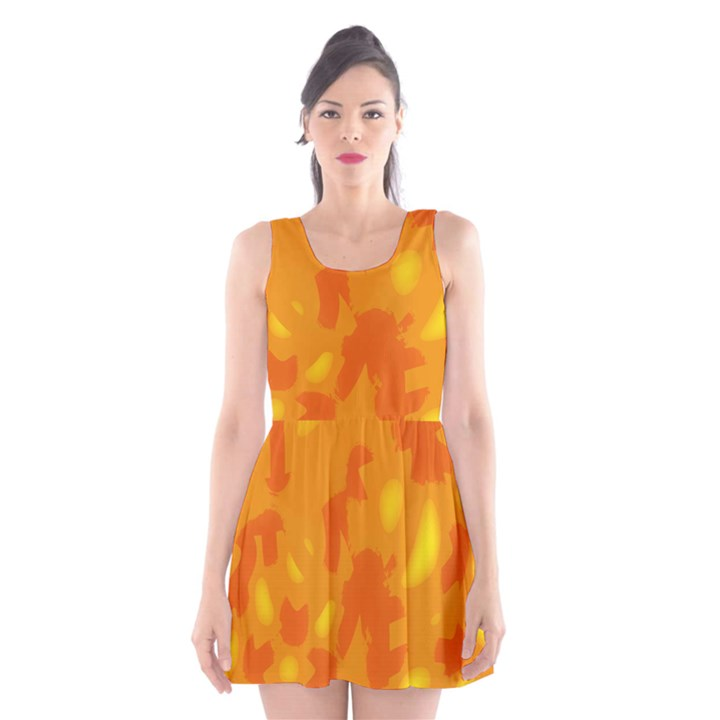 Orange decor Scoop Neck Skater Dress