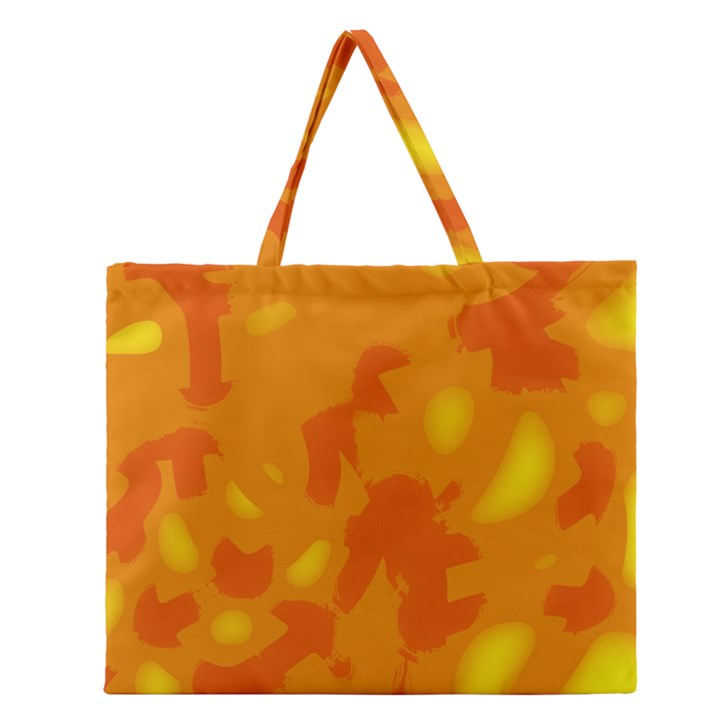 Orange decor Zipper Large Tote Bag