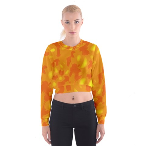Orange decor Women s Cropped Sweatshirt