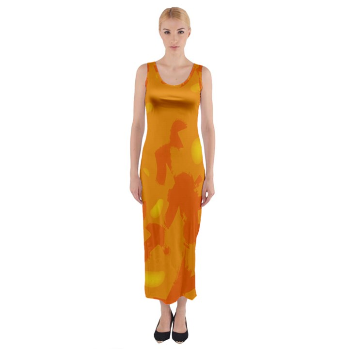 Orange decor Fitted Maxi Dress