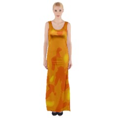Orange Decor Maxi Thigh Split Dress