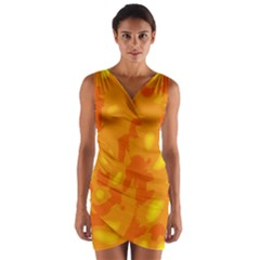 Orange Decor Wrap Front Bodycon Dress