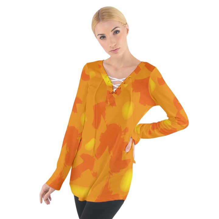 Orange decor Women s Tie Up Tee