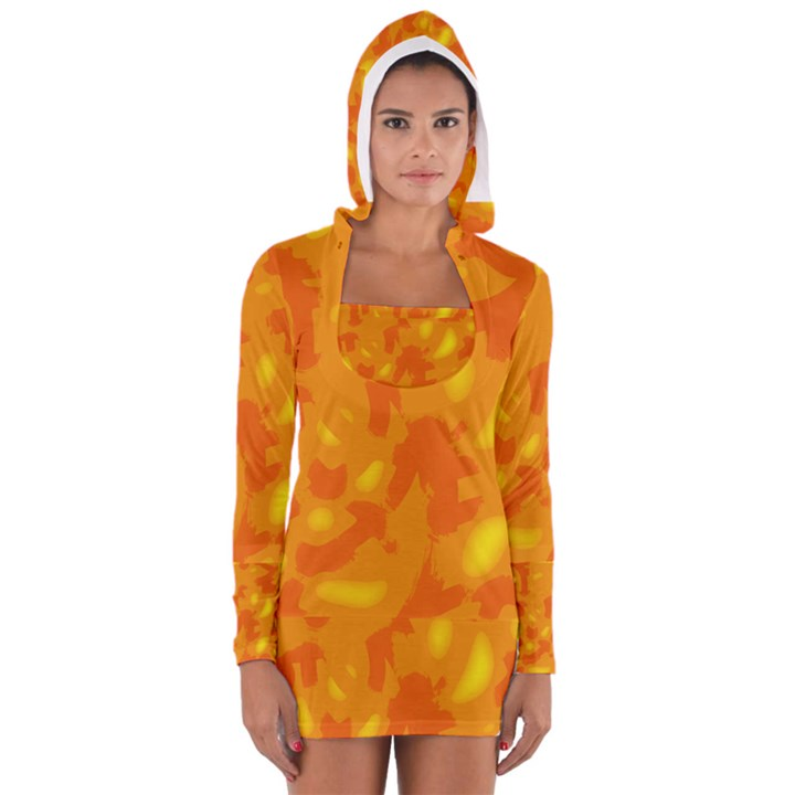 Orange decor Women s Long Sleeve Hooded T-shirt