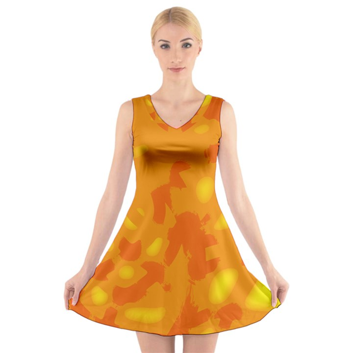 Orange decor V-Neck Sleeveless Skater Dress