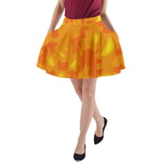 Orange Decor A Line Pocket Skirt