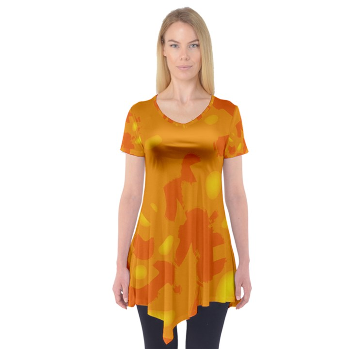 Orange decor Short Sleeve Tunic