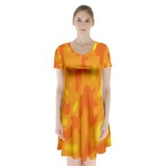 Orange Decor Short Sleeve V Neck Flare Dress