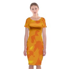 Orange Decor Classic Short Sleeve Midi Dress
