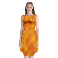 Orange Decor Sleeveless Chiffon Dress