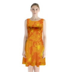 Orange decor Sleeveless Chiffon Waist Tie Dress
