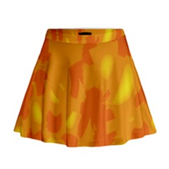Orange decor Mini Flare Skirt