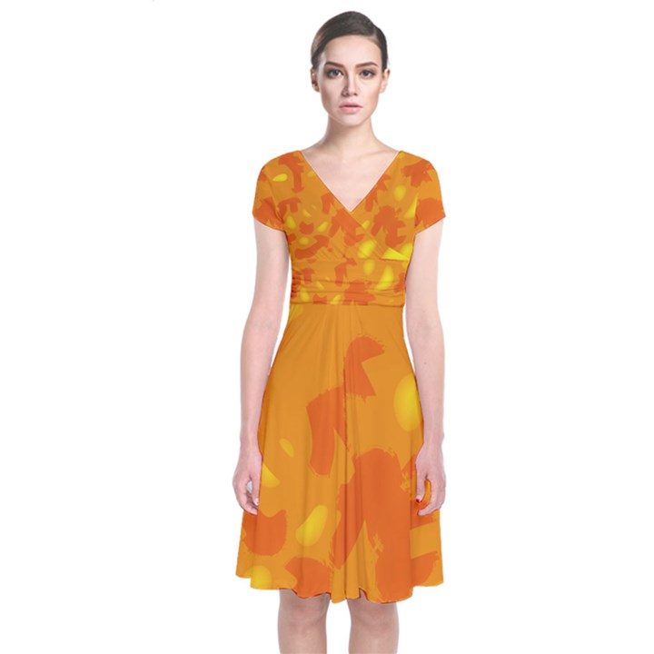 Orange decor Short Sleeve Front Wrap Dress