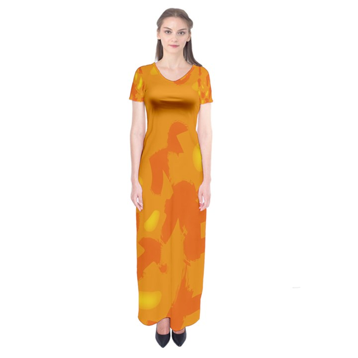 Orange decor Short Sleeve Maxi Dress