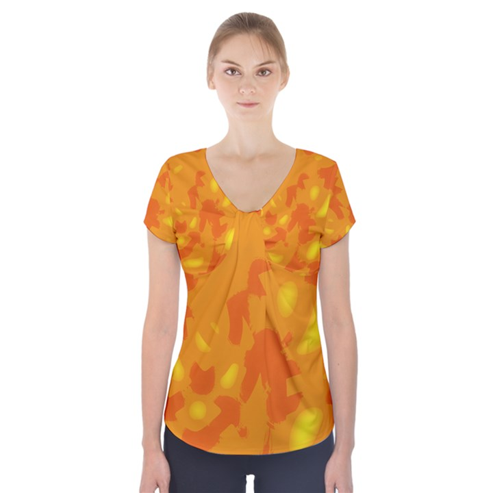 Orange decor Short Sleeve Front Detail Top