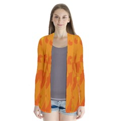Orange Decor Drape Collar Cardigan