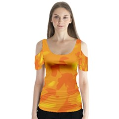 Orange Decor Butterfly Sleeve Cutout Tee