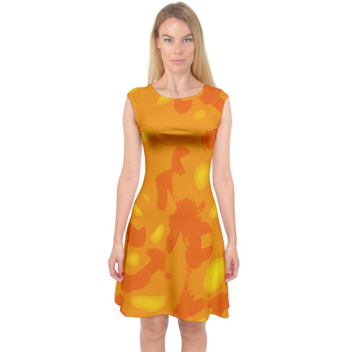 Orange decor Capsleeve Midi Dress