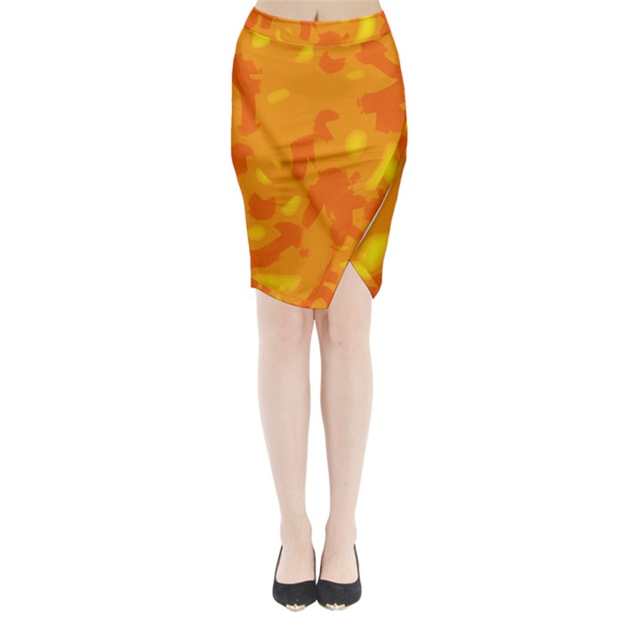 Orange decor Midi Wrap Pencil Skirt