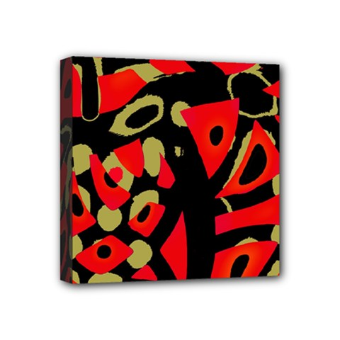 Red Artistic Design Mini Canvas 4  X 4