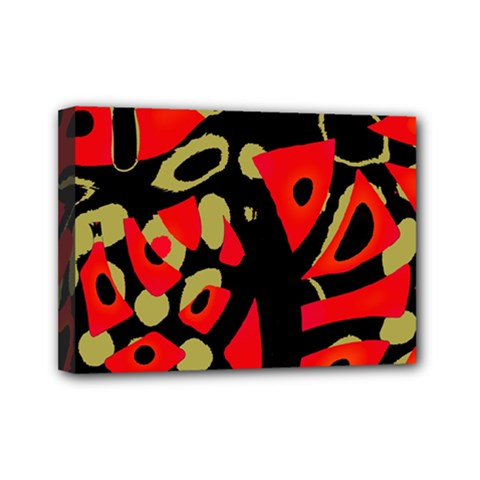 Red artistic design Mini Canvas 7  x 5