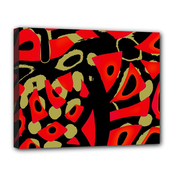 Red artistic design Canvas 14  x 11