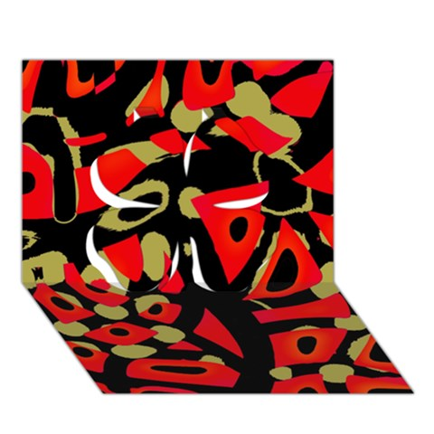 Red artistic design Clover 3D Greeting Card (7x5)