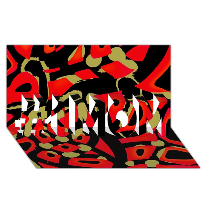 Red artistic design #1 MOM 3D Greeting Cards (8x4)