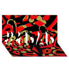 Red Artistic Design #1 Dad 3d Greeting Card (8x4)