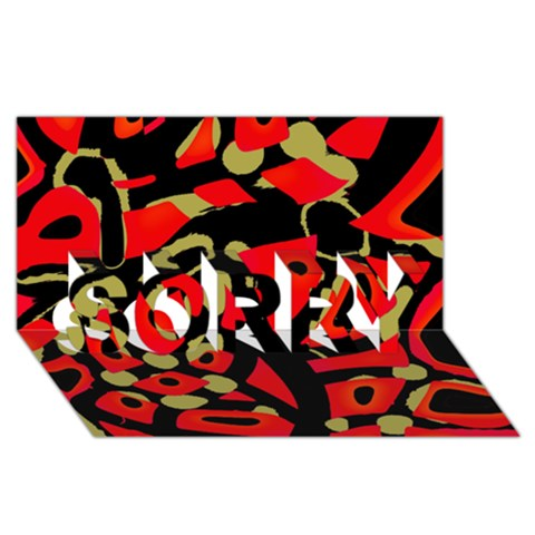 Red artistic design SORRY 3D Greeting Card (8x4)