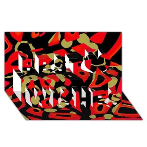 Red artistic design Best Wish 3D Greeting Card (8x4)