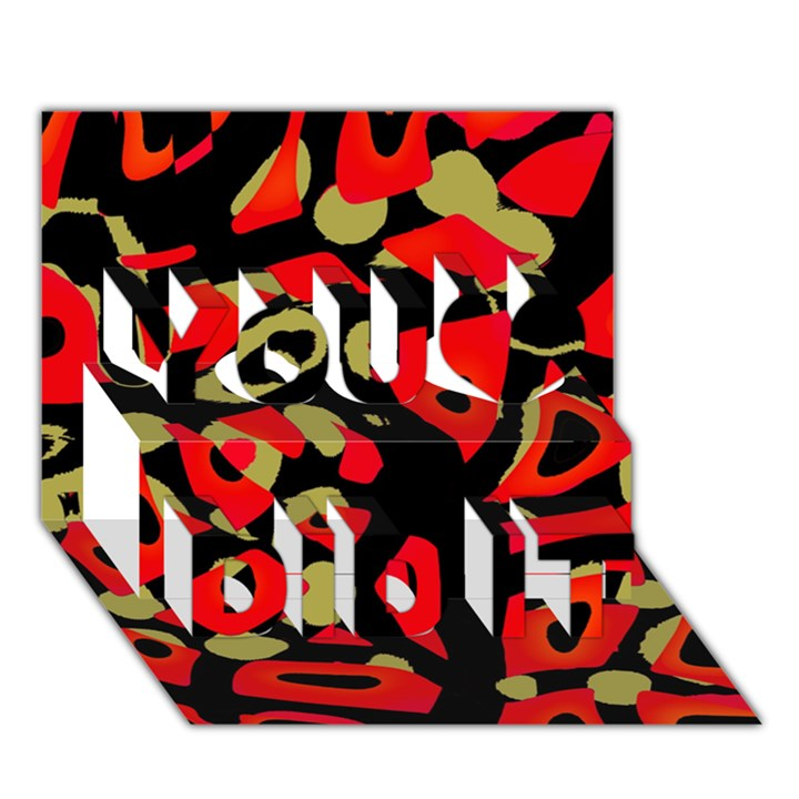 Red artistic design You Did It 3D Greeting Card (7x5)