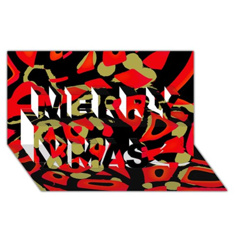 Red artistic design Merry Xmas 3D Greeting Card (8x4)