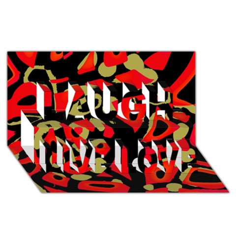 Red artistic design Laugh Live Love 3D Greeting Card (8x4)