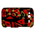 Red artistic design HTC Wildfire S A510e Hardshell Case View1
