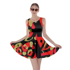 Red artistic design Skater Dress
