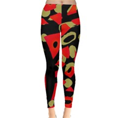 Red Artistic Design Leggings