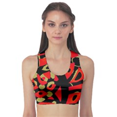 Red artistic design Sports Bra
