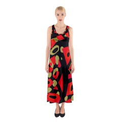 Red artistic design Sleeveless Maxi Dress
