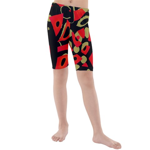 Red artistic design Kids  Mid Length Swim Shorts