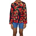 Red artistic design Kids  Long Sleeve Swimwear View1
