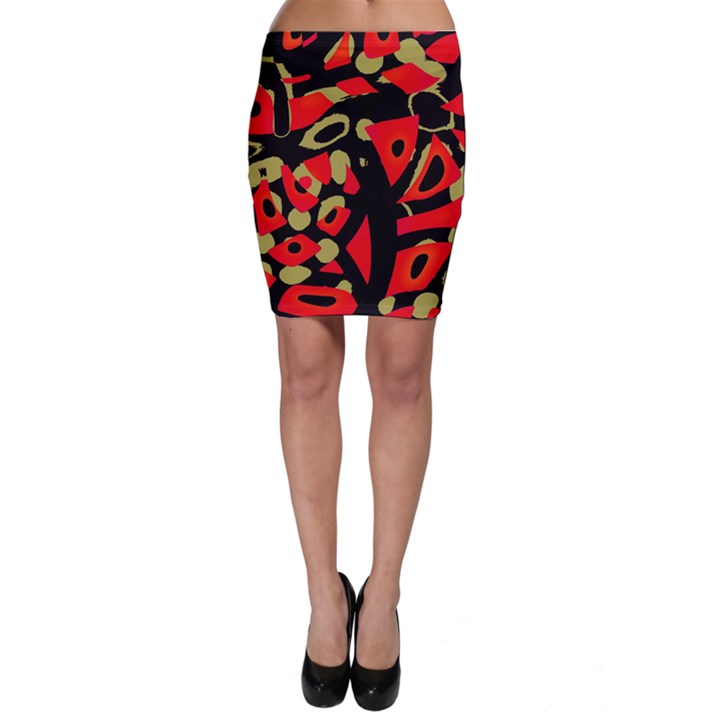Red artistic design Bodycon Skirt