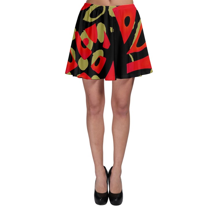 Red artistic design Skater Skirt