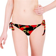Red Artistic Design Bikini Bottom